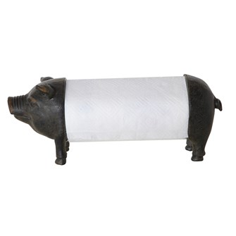 "14""L x 6""W x 6-1/4""H Resin Pig Paper Towel Holder"
