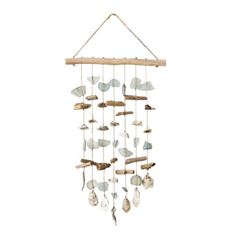 "40""H Driftwood, Sea Glass & Shell Hanging Wind Chime/Wall Decor"