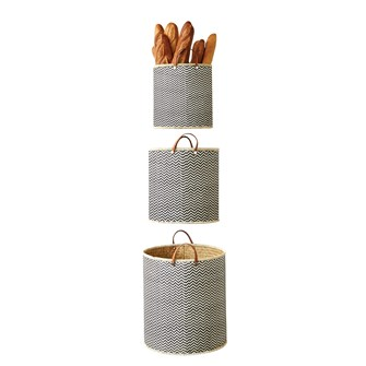 "17-3/4"", 14-1/2"" & 13-1/2"" Round Palm Leaf Laundry Basket w/ Leather Handles, Set of 3"