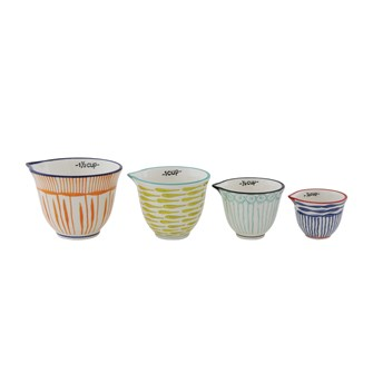 1-1/2, 1, 1/2 & 1/4 Cup Hand-Painted Stoneware Measuring Cups w/ Stripes, Set of 4