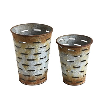 "8-1/2""H & 7""H Metal Olive Buckets, Set of 2"