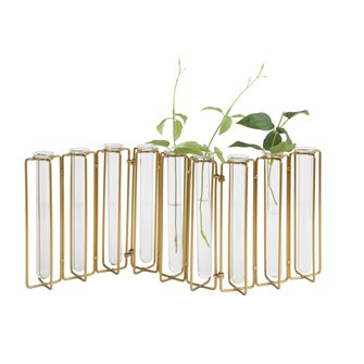 "18-1/2""L x 7-1/2""H Metal & Glass Jointed Vase w/ 9 Test Tubes, Gold Fin"