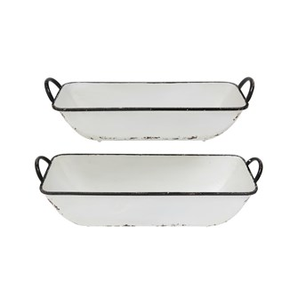 Decorative Metal Containers, White Distressed Enamel Finish, Set of 2