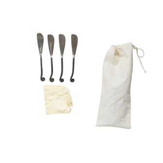 "6-1/4""L Hand-Forged Canape Knives in Drawstring Bag, Set of 4"