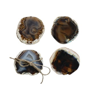 "4"" Round Agate Coasters, Brown, Set of 4"
