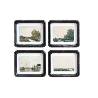 "8-1/4""L x 7""H Wood Framed Wall Decor w/ Floating Antiqued Landscape, Distressed Finish, 4 Styles"