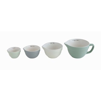 1-1/2, 1, 1/2, 1/4 Cup Stoneware Batter Bowl Shaped Measuring Cups, Set of 4