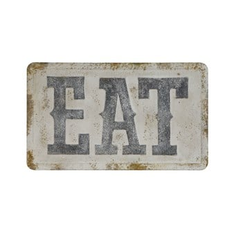 "32-3/4""L x 19-1/2""H Embossed Metal Wall Decor ""Eat"", Distressed Finish"