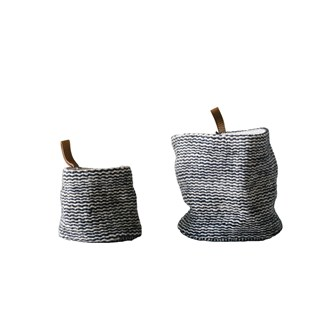 "6-1/2"" Round x 6""H & 4-1/2"" Round x 4""H Jute Wall Baskets w/ Leather Loop, Set of 2"