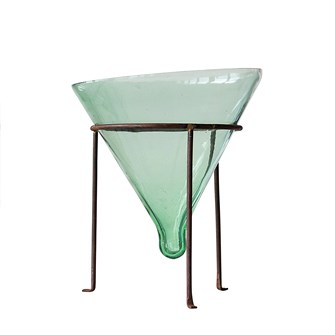 "10"" Round x 12-1/4""H Recycled Glass Cone Planter w/ Metal Stand, Green, Set of 2"