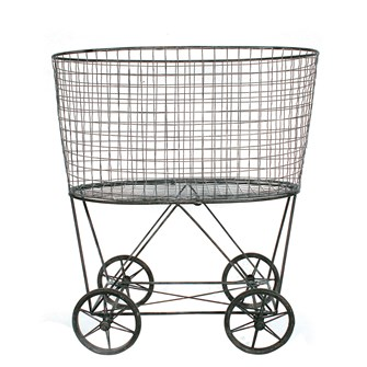 "24-3/4""L x 15-1/4""W x 27""H Metal Reproduction of Vintage Laundry Basket On Wheels"