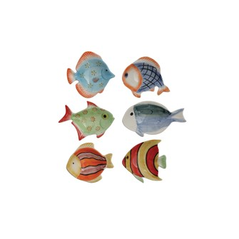 "3""L x 2-3/4""W Hand-Painted Stoneware Fish Dish, 6 Styles"