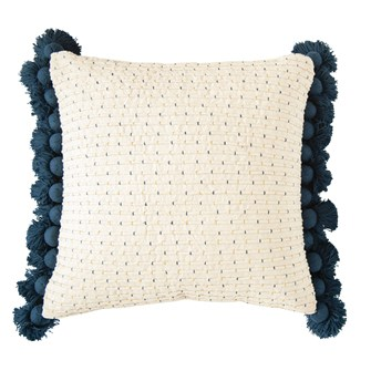 "24"" Square Woven Cotton Embroidered Pillow w/ Tassels, Navy & Gold Color"