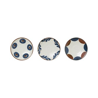 "6-1/4""Round Porcelain Plate, White w/ Blue & Brown Pattern, 3 Styles"