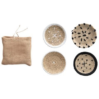 "4"" Round Hand-Woven Natural Seagrass Coasters w/ Stitching, Black & White, Set of 4 in Burlap Bag"