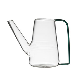 "6-3/4""L x 3-1/2""W x 5""H Glass Watering Can w/ Green Handle"