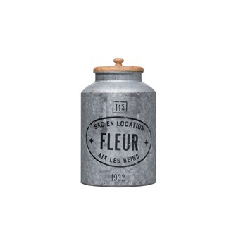 "8-1/4"" Round x 13-3/4""H Decorative Galvanized Metal Container w/ Wood Lid ""Fleur"""