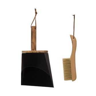 "10-1/4""L Beech Wood Brush & Metal Dust Pan w/ Leather Straps, Natural & Black, Set of 2"