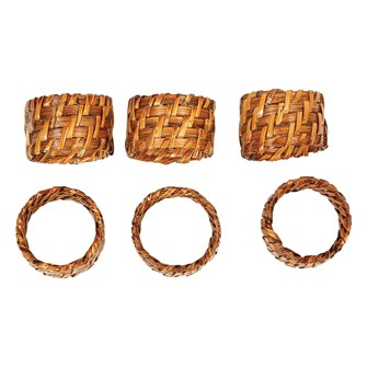 "2"" Round x 1-1/2""H Hand-Woven Rattan Napkin Rings, Set of 6"