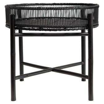 "19-3/4"" Round x 17""H Bamboo Slatted Tray Table w/ Removable Tray, Black"