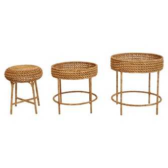 "22"" Round x 24""H & 20"" Round x 20""H Woven Water Hyacinth & Rattan Tables w/ 16"" Round x 20""H Stool, Set of 3"