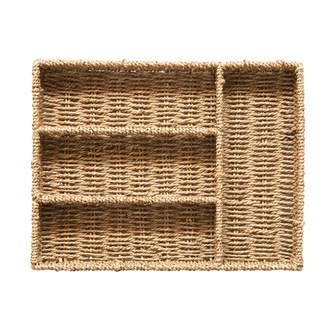 "7-3/4""L x 7-3/4""W x 2-1/4""H Hand-Woven Seagrass Tray w/ 4 Sections, Natural"