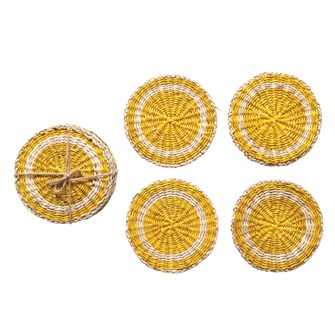 "4"" Round Hand-Woven Seagrass Coasters, Yellow & Natural, Set of 4"