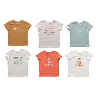 Cotton Kid's Tee w/ Words, 6 Styles, 4 Sizes (18-24 months, 2T, 3T, 4T)