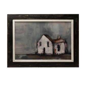"24""W x 18""H MDF Framed Canvas Wall Decor w/ House"