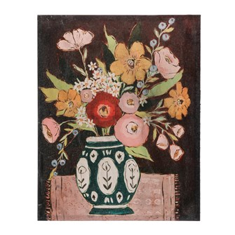 "22-1/4""W x 28""H MDF & Canvas Wall Decor w/ Flowers in Vase, Multi Color"