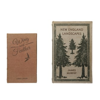 "10-1/4""L x 6-1/2""W MDF & Canvas Book Storage Boxes, Set of 2 ""New England Landscapes"""