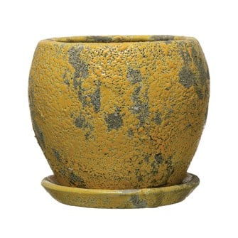 "4-3/4"" Round x 4-3/4""H Terra-cotta Planter w/ Saucer, Distressed Yellow Finish, Set of 2 (Holds 4"" Pot)"