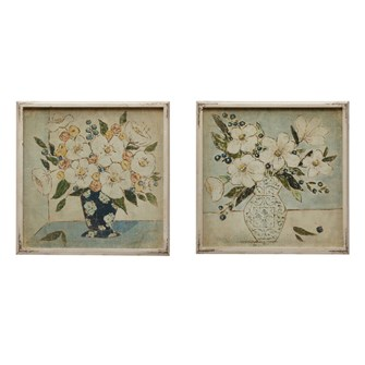 "20"" Square Wood Framed Wall Decor w/ Floral Print, 2 Styles"