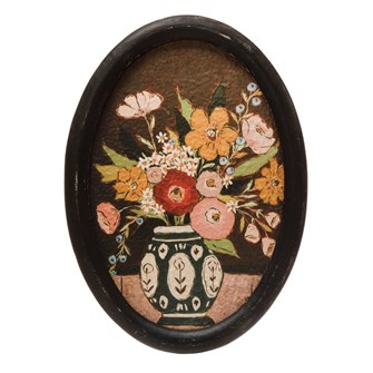 "10""W x 13-3/4""H Oval MDF Framed Wall Decor w/ Flowers in Vase, Multi Color"