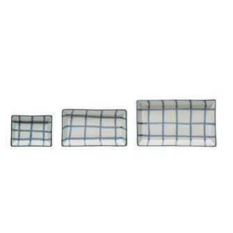 "7-1/2""L x 4-1/2""W, 6-1/4""L x 3-3/4""W & 4""L x 3""W Hand-Painted Stoneware Trays w/ Grid Pattern, Blue & White, Set of 3 (Each One Will Vary)"