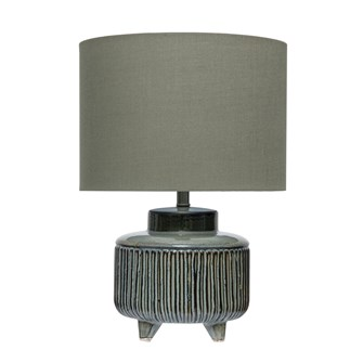 "12"" Round x 18""H Stoneware Footed Table Lamp w/ Linen Shade, Green Reactive Glaze (60 Watt Bulb Maximum) (Each One Will Vary)"