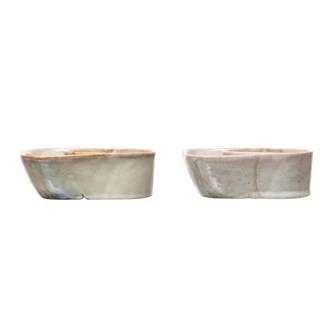 "6-1/2""L x 6""W x 2-1/4""H Stoneware Cracker & Soup Bowl, Reactive Glaze, 2 Colors (Each One Will Vary)"
