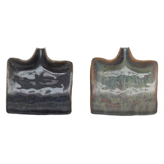 "4-1/2"" Square x 1-3/4""H Stoneware Sponge Holder/Soap Dish w/ Drip Spout, Reactive Glaze, 2 Colors (Each One Will Vary)"