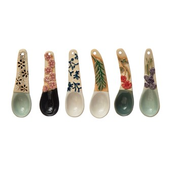"4-1/4""L Hand-Painted Stoneware Spoon w/ Floral Design Handle, 6 Styles (Each One Will Vary)"