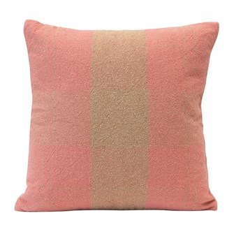 "20"" Square Woven Recycled Cotton Blend Plaid Pillow, Pink & Tan Color"