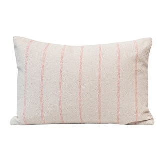 "24""L x 16""H Woven Recycled Cotton Blend Lumbar Pillow w/ Stripes, Pink & Cream Color"