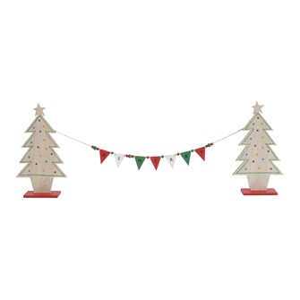 "33""L MDF Tree w/ Flag Garland ""Be Merry"""