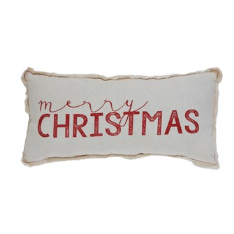 "18""L x 9""H Fabric Pillow w/ Silk Screen ""Merry Christmas"", w/ Fringed Edges"