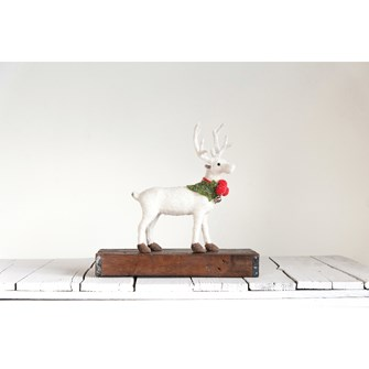 "11-1/2""L x 13-1/2""H Felt Standing Stag w/ Holly & Jingle Bell, White, Truck Ship"