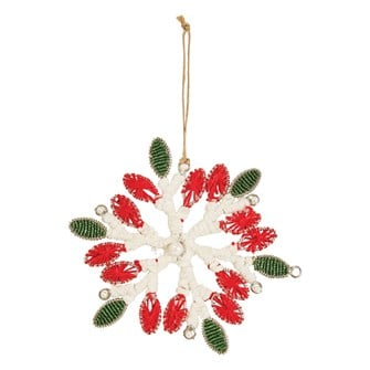 "5-1/4""H Glass Bead & Yarn Snowflake Ornament, Red & Green"