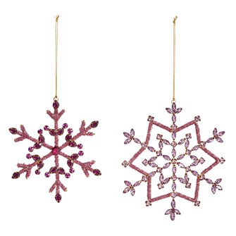 "6-1/4""H Glass Bead Snowflake Ornament, Purple & Gold, 2 Styles"