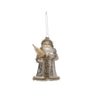 "7""H Glass Santa Ornament w/ Tinsel Trim & Bottle Brush Tree, Silver Finish"