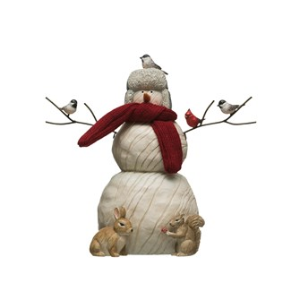"9-1/4""L x 8-1/2""H Resin Snowman w/ Critters & Fabric Scarf, White"