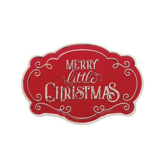 "20""W x 13-1/2""H Embossed Metal Wall Decor, Red & White ""Merry Little Christmas"""