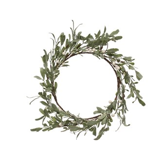 "16"" Round Faux Berry & Leaf Wreath, Green & White"